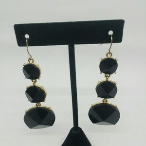 Gold Tone and Black Statement Earrings